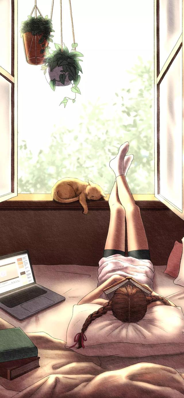 温柔插画壁纸,幸福大概就是这样的